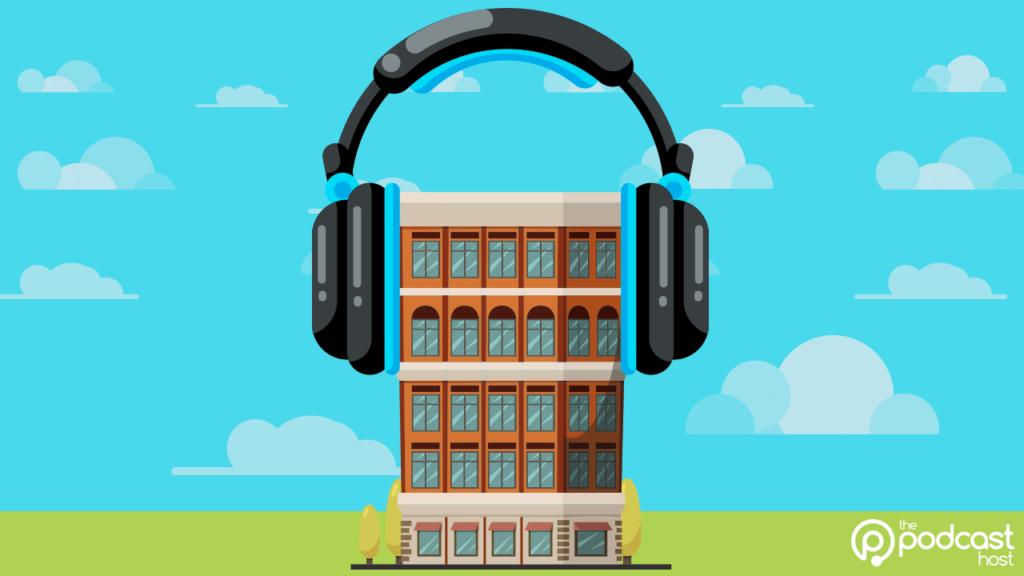 building wearing headphones