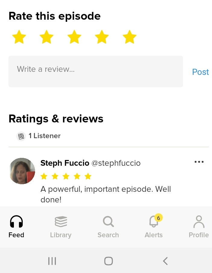 Goodpods episode page with star and written review