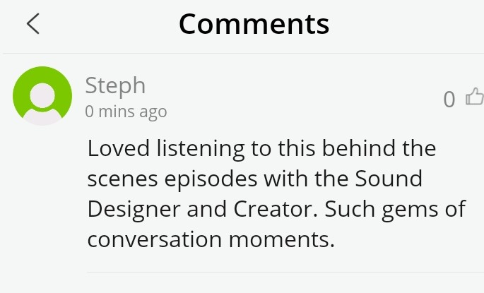 Podbean comment page with written review