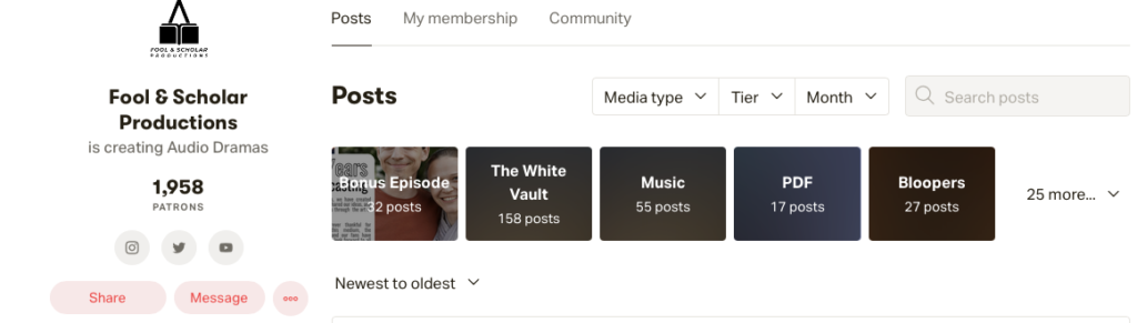 Patreon post categories let backers filter posts.