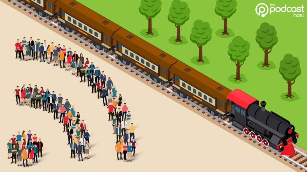 a podcast train travels to the audience via RSS