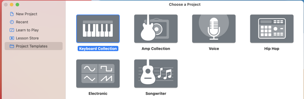 A view of project template choices in Garage Band